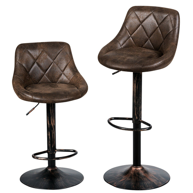 COSTWAY Set of 2 Adjustable Bar Stools with Backrest and Footrest Hot-stamping Cloth Bar Chair Adjustable Height by Lift Arm 2