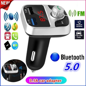 Car Bluetooth 5.0 FM Transmitter Kit Wireless Handsfree Audio Receiver MP3 Modulator Player 3.1A Dual USB Fast Charger Auto image