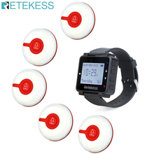 Retekess T128 Caregiver Pager Nurse Calling System Sound Alert Watch Pager and 5 TD009