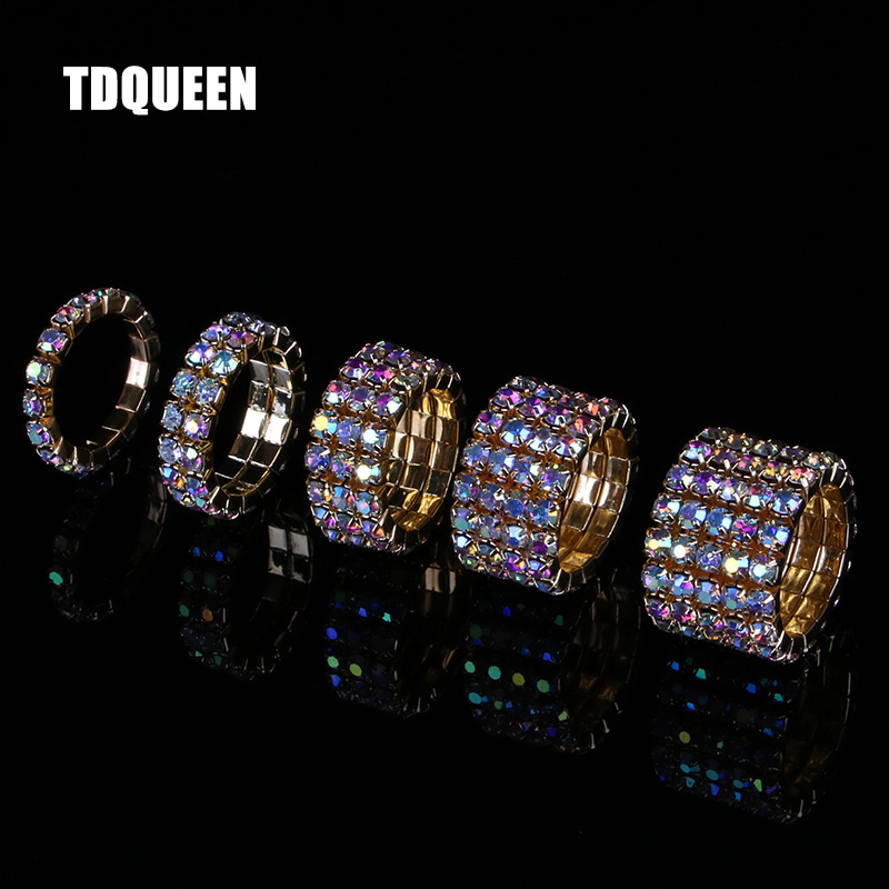 TDQUEEN 1-5 Rows AB Crystal Rings Gold Color Metal Bridal Wedding Rhinestone Elastic Stretch AB Stone Rings for Women(China)