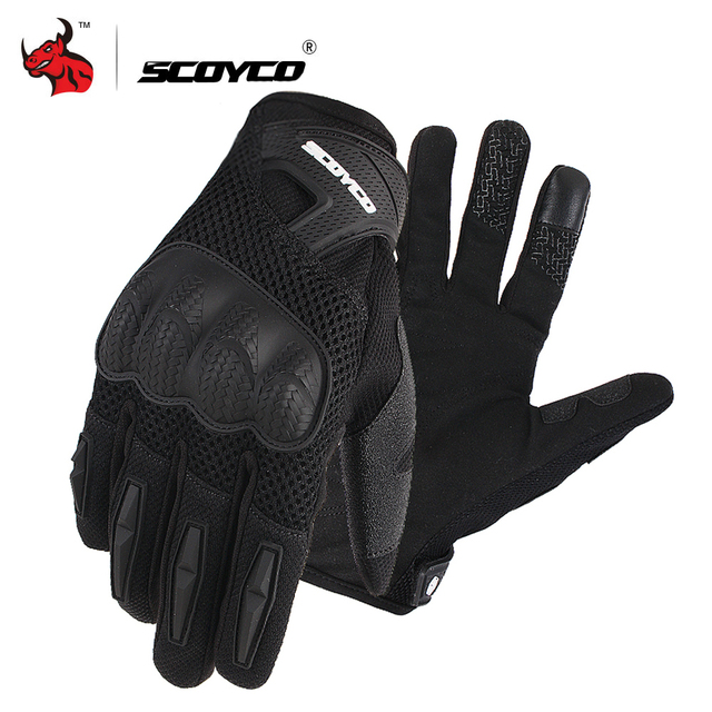 SCOYCO Motorcycle Gloves Summer Breathable Mesh Moto Gloves Touch Function Motorbike Gloves Motocross Off-Road Racing Gloves