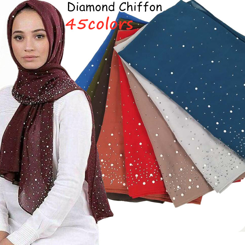 Z70 Women Solid Color Bubble Chiffon Diamond Shawls Scarf Hijab Scarf Headband Wrap Fashion Muslim  Scarves/scarf 180*75 Cm