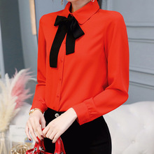 Women Blouse 2019 Spring Summer Tops Slim Women's Shirts Solid Color Bow Turn Do