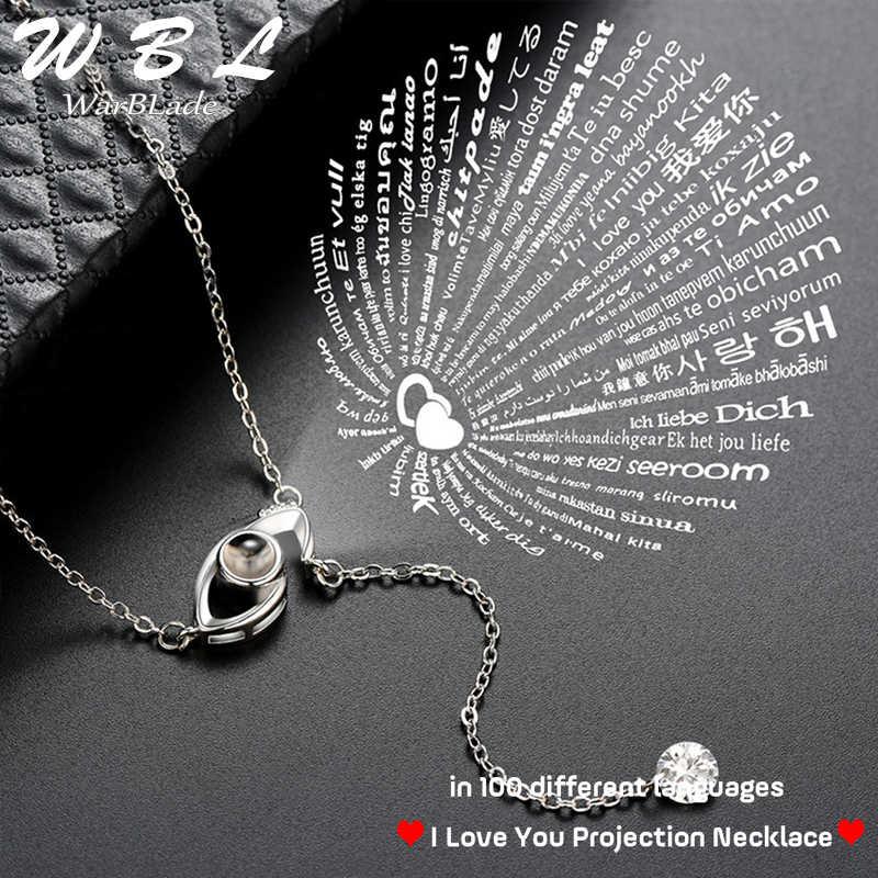 Je t'aime Projection 100 langues pendentif collier femmes or argent mauvais œil collier romantique amour mémoire collier de mariage