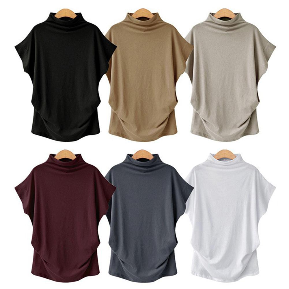 Summer Fashion Women Solid Color Loose Turtle Neck Short Sleeve T-Shirt Top