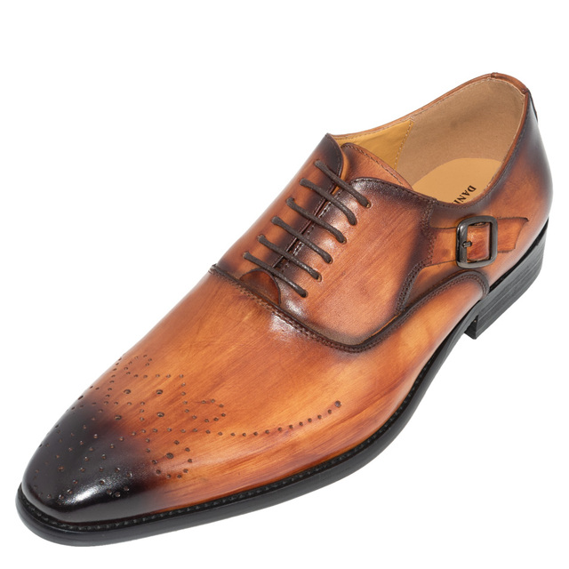 Men Buckle Strap Oxford Dress Party Patent Leather Formal Pointed Toe Shoes Chic