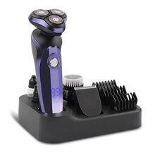 Afeitadora eléctrica recargable por USB para hombre máquina de afeitar para Barba, uso Dual en seco y mojado, lavable