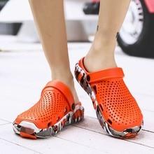 Летние модные мужские сандалии; сандалии с отверстиями; дышащие повседневные уличные Нескользящие пляжные сандалии;# xew