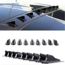 10PCS Universal Shark Fin Diffuser Vortex Generator Car Wing Roof Spoiler Bumper Carbon Fiber Tail