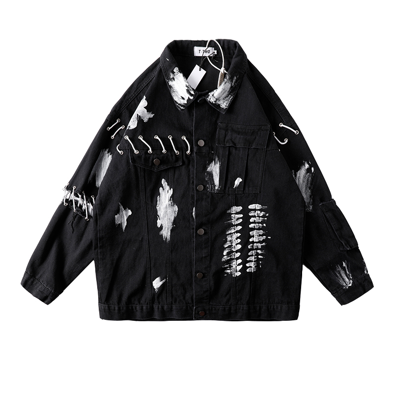 Graffiti Hand-Painted High Street Jean Jacket For Men Lace Up Hollow Out Parchwork Denim Coat Oversize Loose Mens Clothers