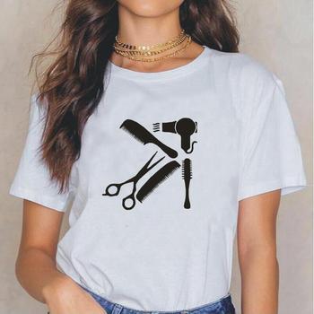 Arte moderno, salón de belleza, camiseta para mujer, camiseta de peluquería, camiseta Hipster informal de verano para mujer, camisetas de tallas grandes, Tops para mujer