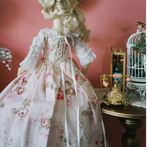Image 3 - Bjd Roze Jurk Pop Lange Jurk + Hoed + Jurk Ondersteuning + Sokken Voor 1/6 1/4 1/3 Bjd Giant Baby pop Accessoires Een Pak Bjd Kleding