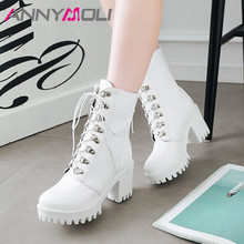 ANNYMOLI Winter Ankle Boots Women Lace Up Platform Chunky Heel Short Boots PU Leather Extreme High Heel Shoes Ladies Fall 33-43 glamorous grey velvet platform chunky heel booties women fancy ribbon lace up decoration block heel ankle boots with inside zip