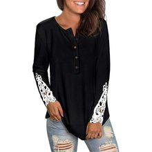 Womens Long Sleeve Round Neck Solid Lace Buttons Henley-Shirts Tunic Tops Round Neck Short Sleeve Top Loose T-Shirt(China)