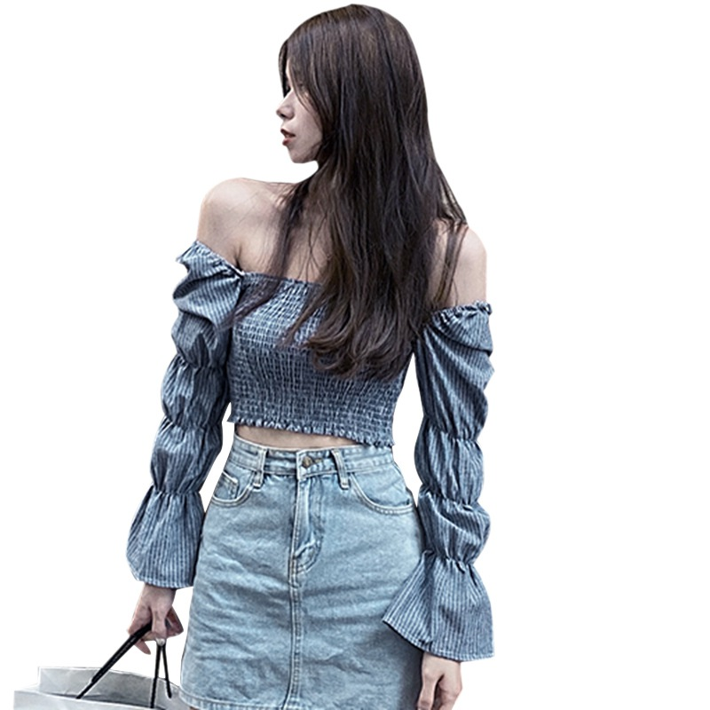 Women Blouses Striped Square Collar Shirts Pleated Slimming Lantern Long Sleeve Camiseta Top One Size Vetements Femmes 7