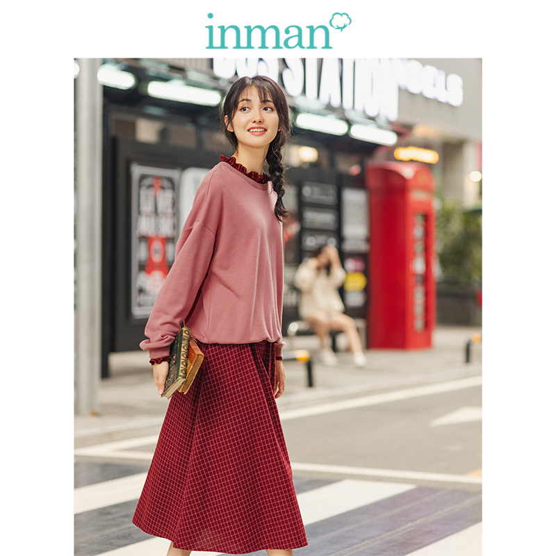 INMAN Spring Autumn Casual Agaric Lace Literary Retro Plaid A-line Dress Women Two Pieces Suit