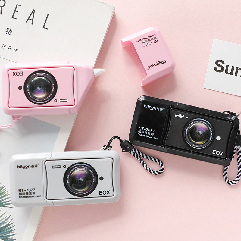 Kawaii Cartoon Black-pink Camera Decorative Correction Tape Proof-reader Corrector for Girls Boy Back School Office Stationery
