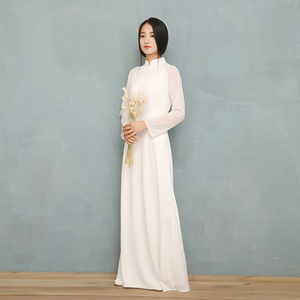 Image 5 - 2020 wietnam Ao Dai biała jednolita, szyfonowa perspektywa sukienka dla kobiety chiński Cheongsams pełna rękaw kobieta orientalna sukienka