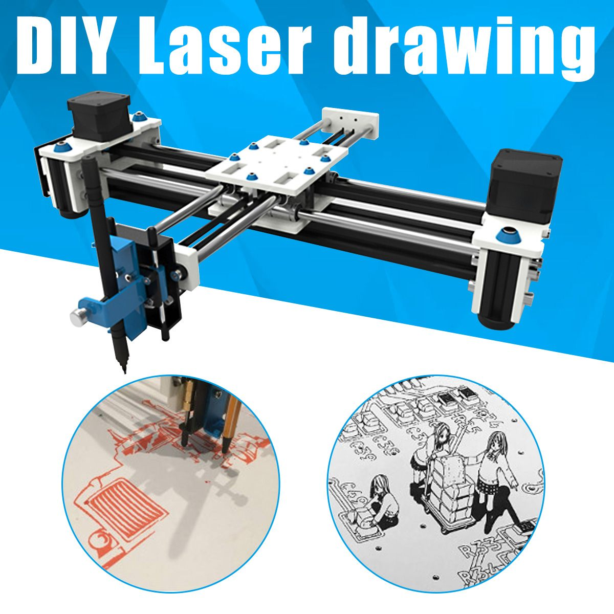 Hot Sale Mini XY 2 Axis CNC Plotter Pen USB DIY Laser Drawing Machine Engraving Area Desktop Drawing Writing Robot 280x200mm