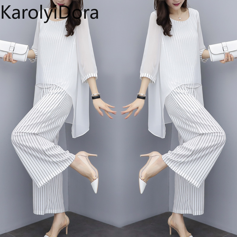 Chiffon Pantsuits Women Pant Suits For Mother Of The Bride Outfit 2019 Formal Wedding Guest Striped Wide Leg Loose 3 Piece Sets Pant Suits Aliexpress