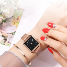 2020 New Fashion Women Simple Watch Square Dial Girls Lady Q