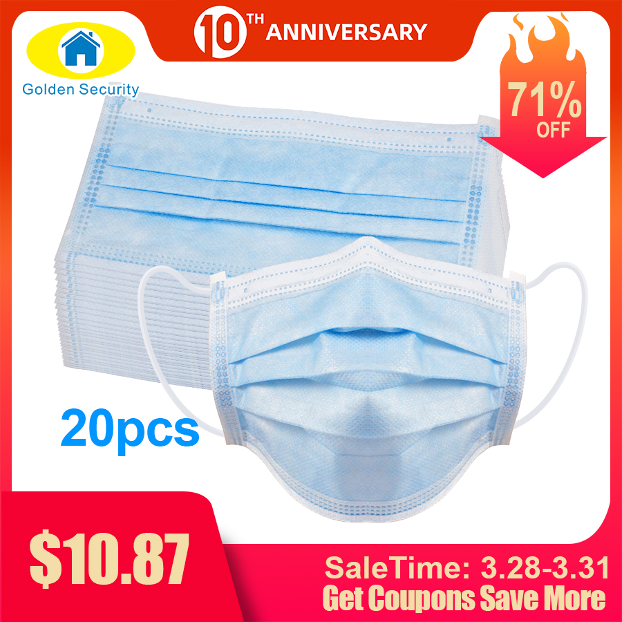 20 Pcs Earloops-Mask Formaldehyde Bacteria Proof Face Mouth Masks Non Woven Disposable Dust Masks Maseczka Ochronna 마스크 マスク