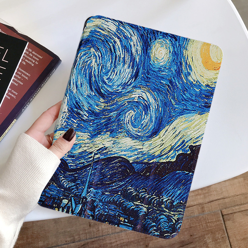 Starry sky White Painted Tablet case for Apple iPad 10 2 inch 2020 Transparent Hard Shell Protection Cover for