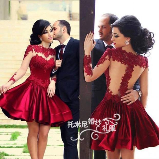 Red Lace Appliques Short Prom Gown Vestidos 2018 New Style Knee-Length Long Sleeve Party Woman Custom Made Bridesmaid Dresses