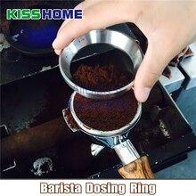51/53/57.5/58/58.35mm paslanmaz çelik akıllı dozlama halka bira kase kahve tozu Espresso Barista huni Portafilter