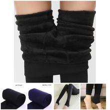 Pantalones térmicos de una sola capa de Color sólido con forro polar cálido para mujer recién 2019