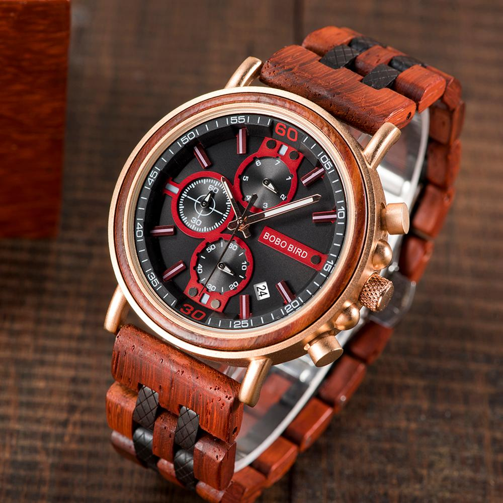 Relogio Masculino  BOBO BIRD Wood Watch Men Top Brand Luxury Stylish Chronograph Military Watches Great  Gift For Boyfriend OEM