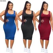 CM.YAYA kobiety Plus rozmiar bez rękawów Tank kolano długość Bodycon Midi sukienka Sport moda bandaż sukienki ołówkowe Vestidos