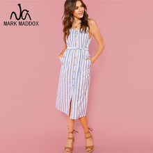 купить Button Front Vertical Stripe Cami Dress Spaghetti Strap Sleeveless Knee Length Dresses Women Summer Casual Dress онлайн
