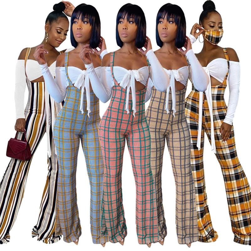 2020 Blouse Plaid Jumpsuit Two Piece Set Women Bodycon Crop Top Long Sleeve Bowknot Tops Romper Pants Autumn Sexy Overalls Suits