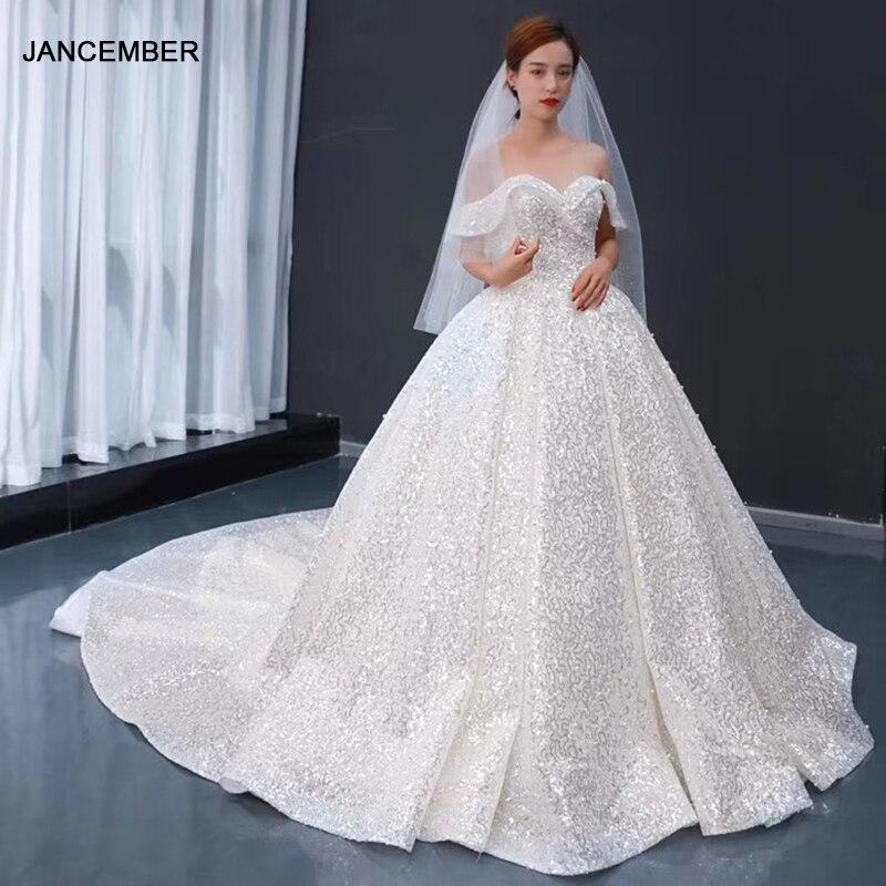 J66942 jancember キラキラ王女のウェディングドレス恋人の肩スパンコールアリババ小売店 vestidos デ noiva 2020