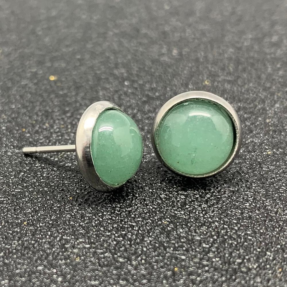 Natural Stone Stud Earrings for Women Handmade Bohemian Stainless Steel Earrings Jewelry Gift Crystal Moonstone Tigereye