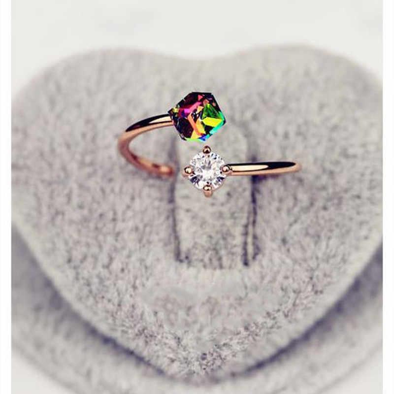 Diamond Rose Gold Vintage Zircon แหวนแหวนหมั้นหญิง Angel ออสเตรียคริสตัลเครื่องประดับปรับ