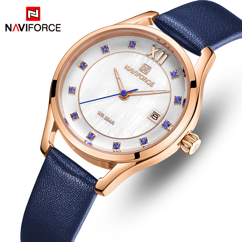 Women Watch NAVIFORCE Top Luxury Brand Fashion Quartz Watches Womens Leather Waterproof Date Dress Girl Clock Relogio Feminino