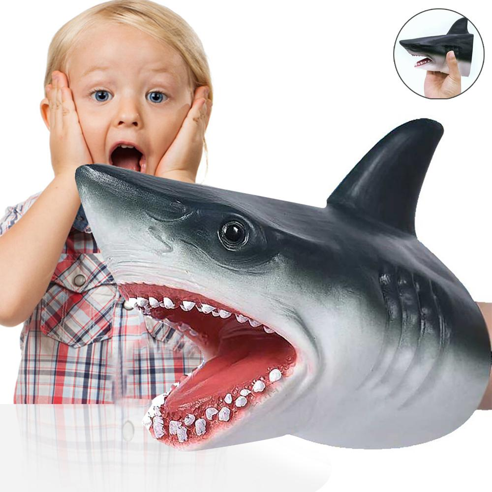 Hot Sales Shark Hand Puppet Toys Shark Puppets Role Play Toy Soft Rubber Realistic Sea Animal Shark Head 6.3 Inch 40P