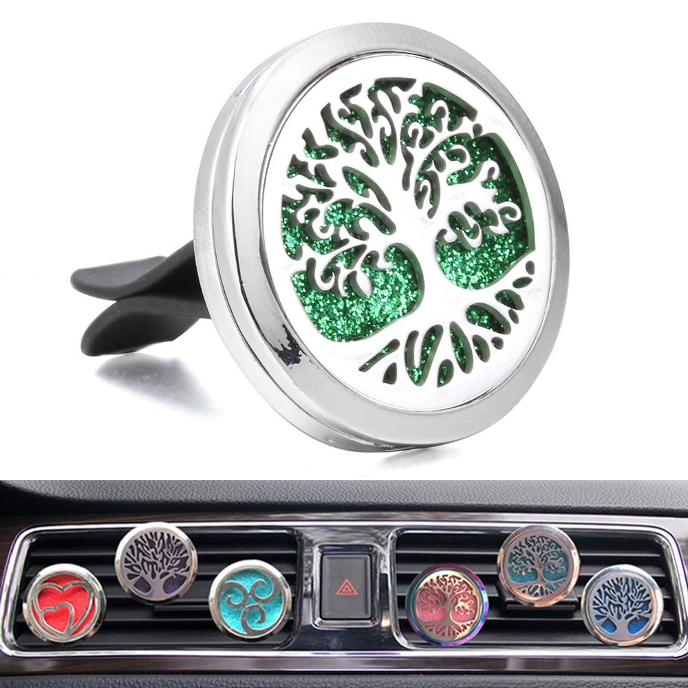 New Car Air Freshener Tree of Life Air Vent Clip 30mm Magnetic Aromatherapy Jewelry Car Perfume Diffuser Locket Free 1pcs Pad