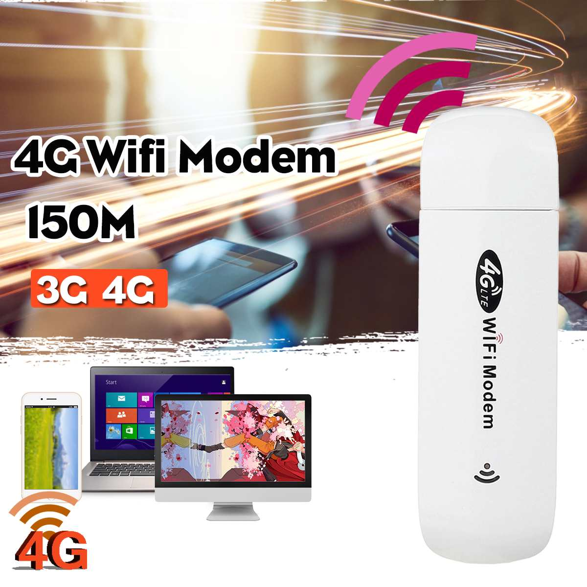 150Mbps Wireless 4G LTE USB Modem Wifi Router Encryption Mobile Hotspot Router FDD:B1/3/5 TDD:B38/39/40/41 WCDMA:B1
