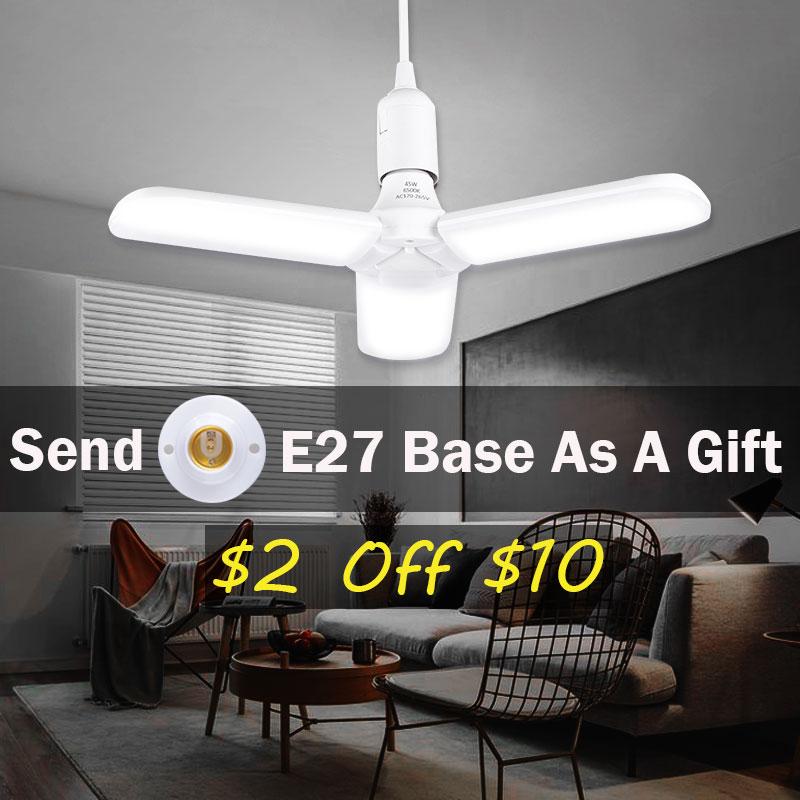 E27 LED Bulb Tubes Light Foldable Fan Blade Bulb 45W 60W Angle Adjustable Lighting Ceiling Light PC Super Bright LED Lamp White
