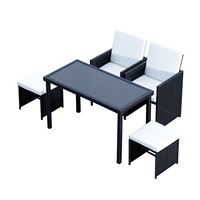 Outsunny Set Garden Furniture Set Table 2 Chairs 2 Foot 5 PCs with cushions Outdoor Rattan Black