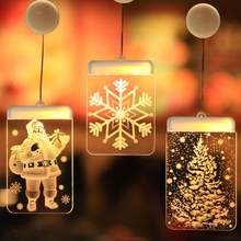 Ins Decorative Christmas Lights Led Battery Bells Deer Lights String Acrylic Plate 3d Hanging Lights Christmas Lights Outdoor(China)