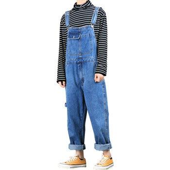 цена Jeans for Men New Men's Straight Denim Overalls Men's trousers tide brand Loose Overalls suspenders Men's overalls онлайн в 2017 году