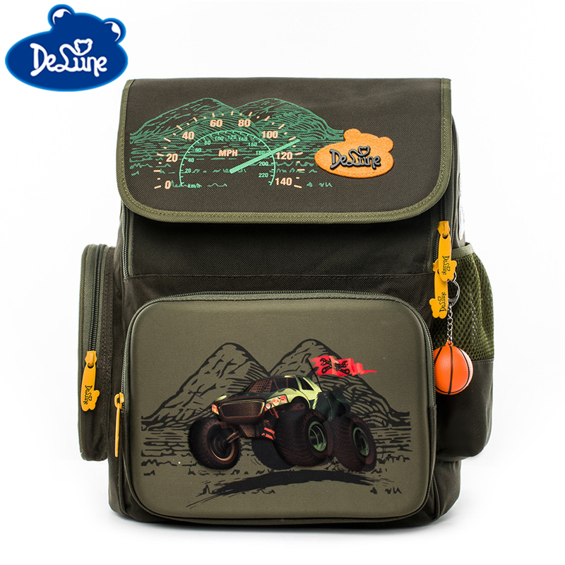 Delune Orthopedic Backpack Primary School Bag 3D Cartoon Waterproof Kid Boys New