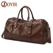 JOYIR Men Genuine Leather Travel Big Capacity Tote Duffle Weekend Bag Soft Real Leather Luggage Bags Shoulder Bag Male Handbag