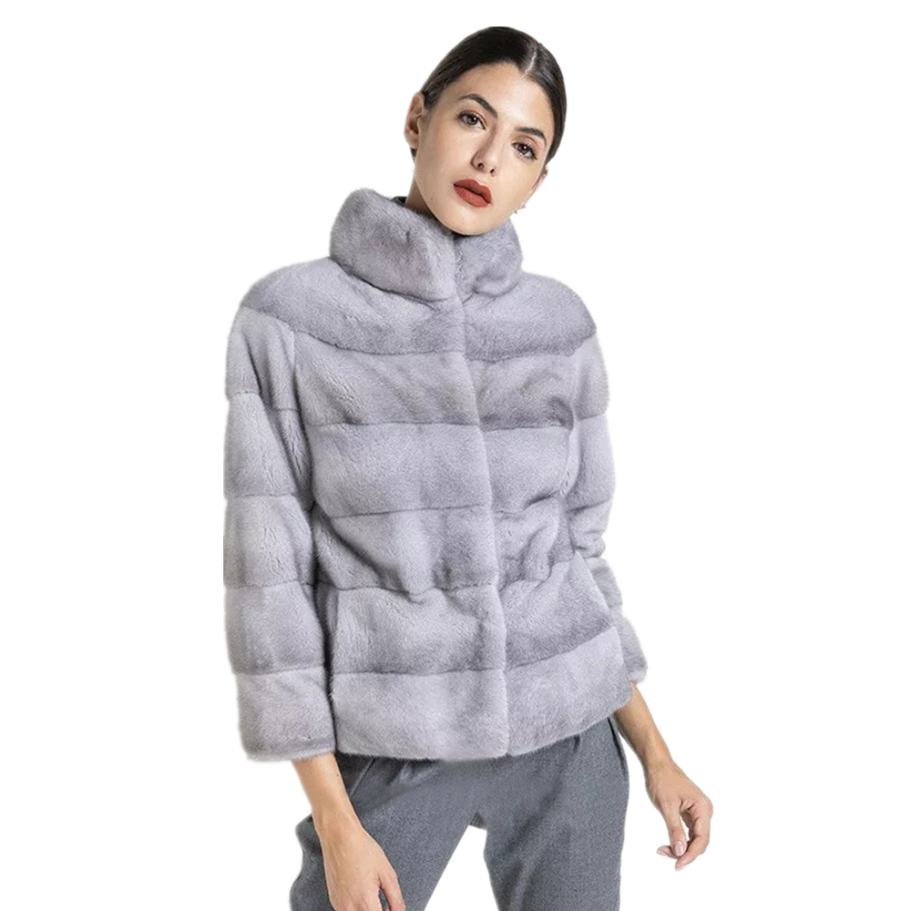 TOPFUR 2019 Imported Sapphire Blue Mink Fur Coat Women winter coat women leather jacket plus size real fur coat women Light Grey