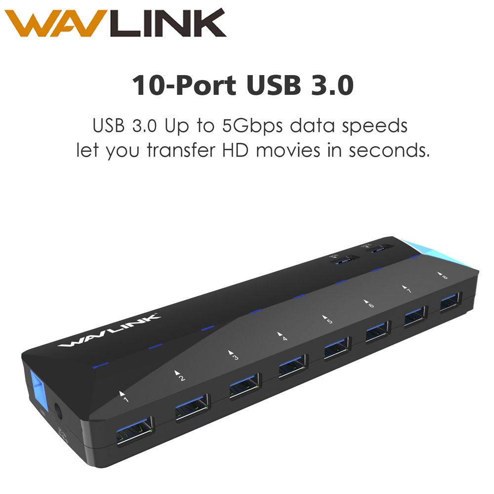 <font><b>10</b></font> Ports <font><b>USB</b></font> <font><b>3.0</b></font> <font><b>HUB</b></font> Super Speed with 12V 5A Power Adapter 48W 2 Port Fast Charging Desktop Multi-function <font><b>hub</b></font> Laptop PC Wavlink image