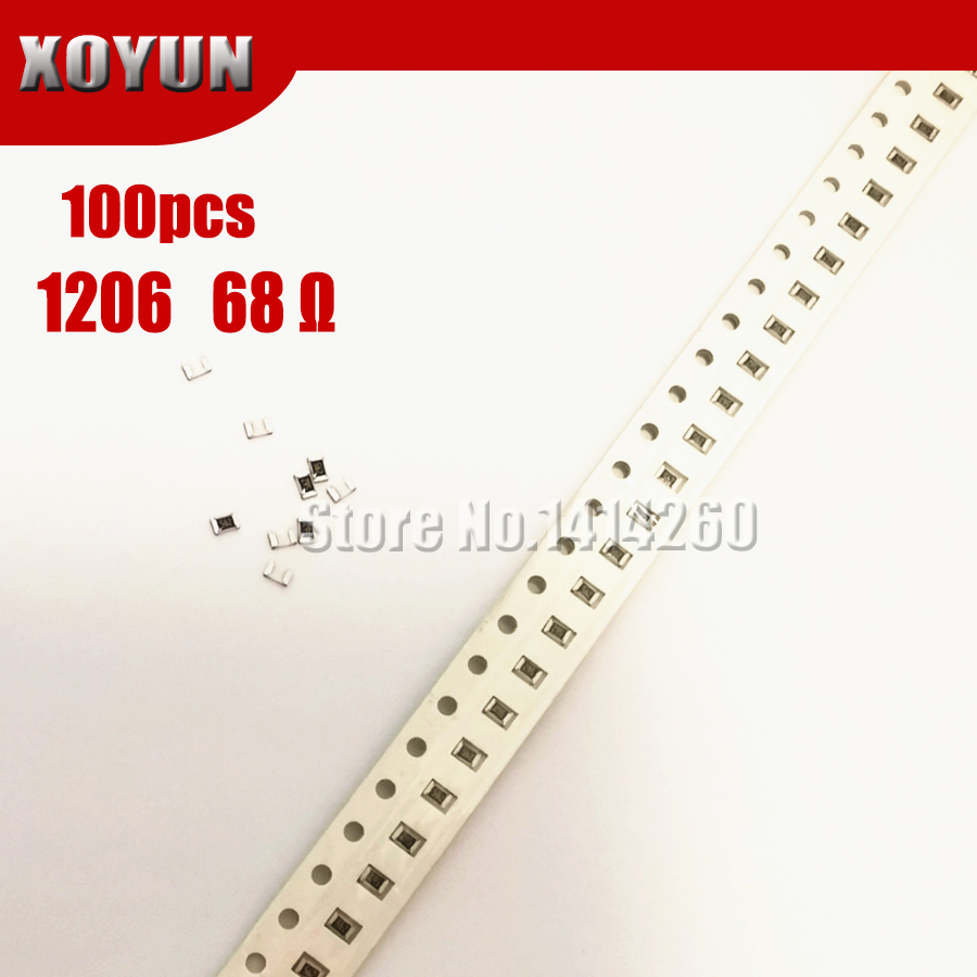 100PCS 1206 SMD Resistor 1% 68 Ohm Chip Resistor 0.25W 1/4W 68R
